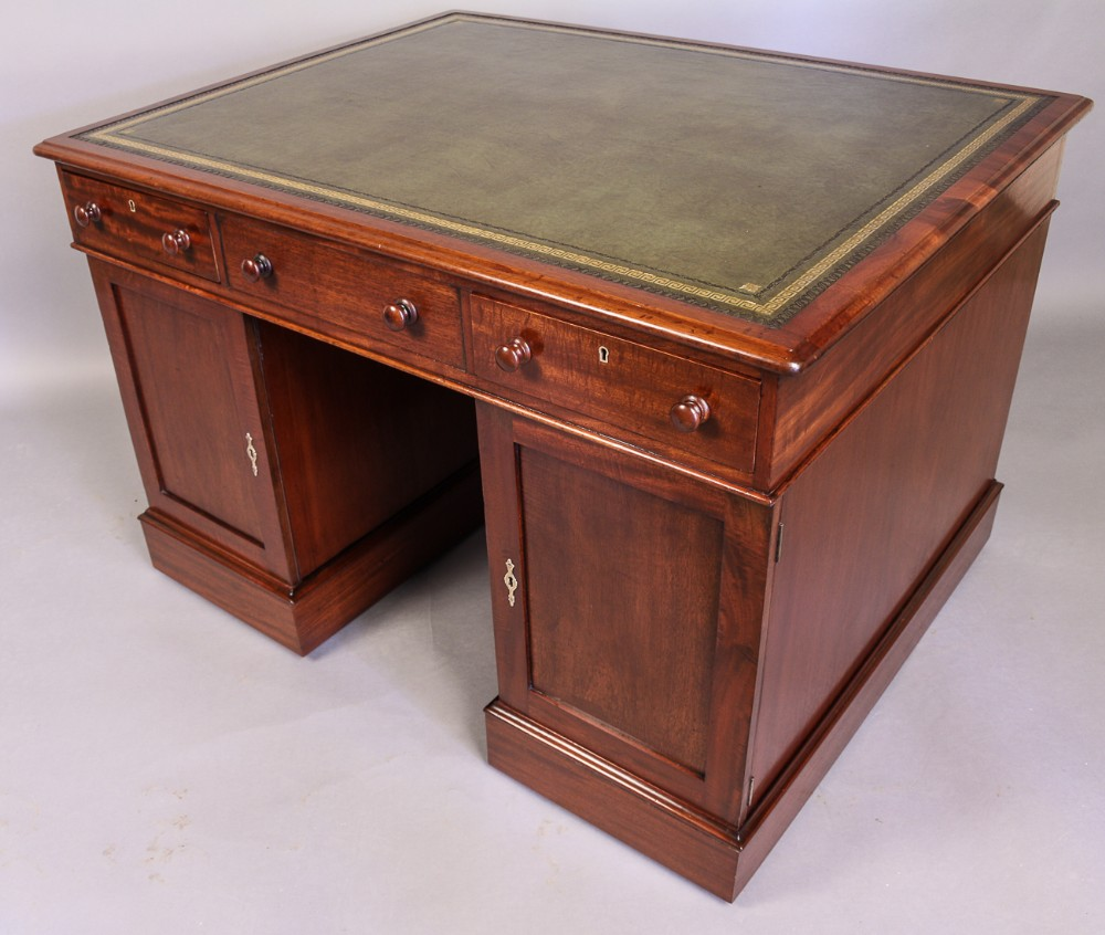 Rare Very Good Quality 19th Century Mahogany Fully Restored Partners Desk