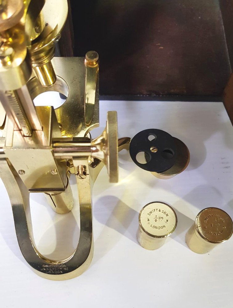 Very Good Quality 19th Century Brass Microscope, Stamped Swift of London