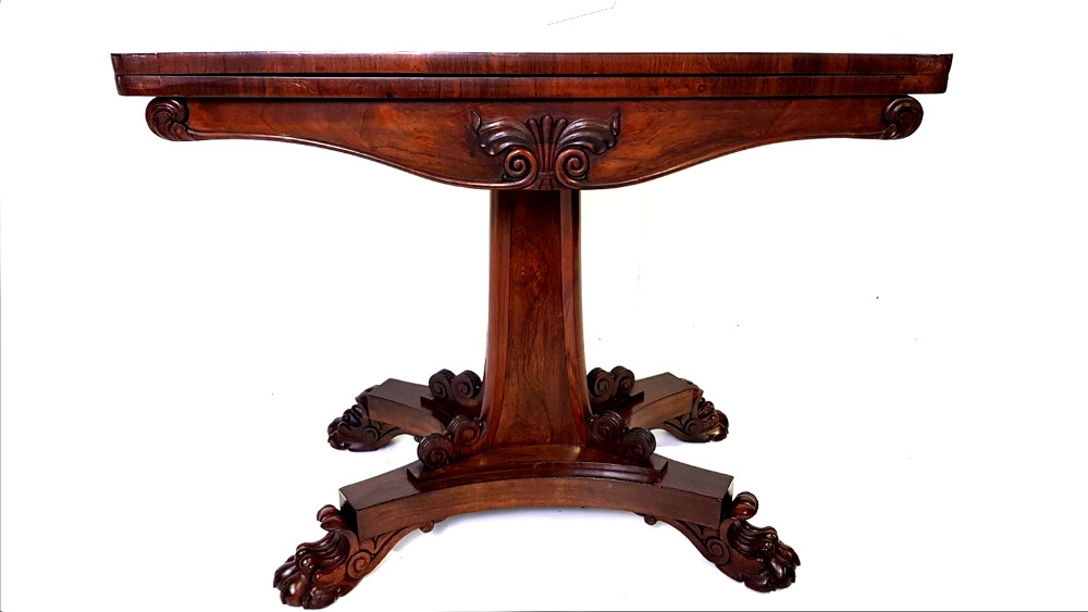 Top Quality William IV (1830 - 1837) Irish Rosewood Turn-over Leaf Card Table