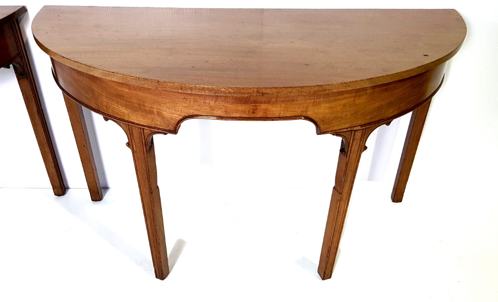 Pair of Georgian Irish Mahogany Demi-lune Table (From a dining table)