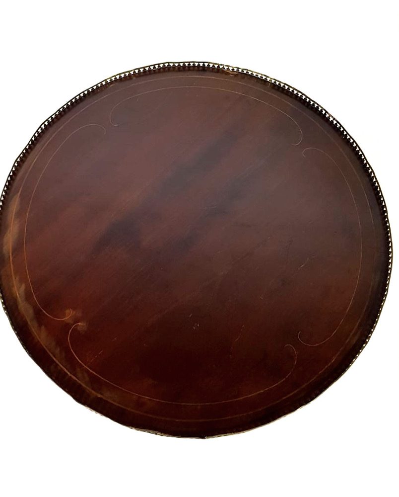 19th Century Inlaid Mahogany Circular Occassional Table with Brass Gallery