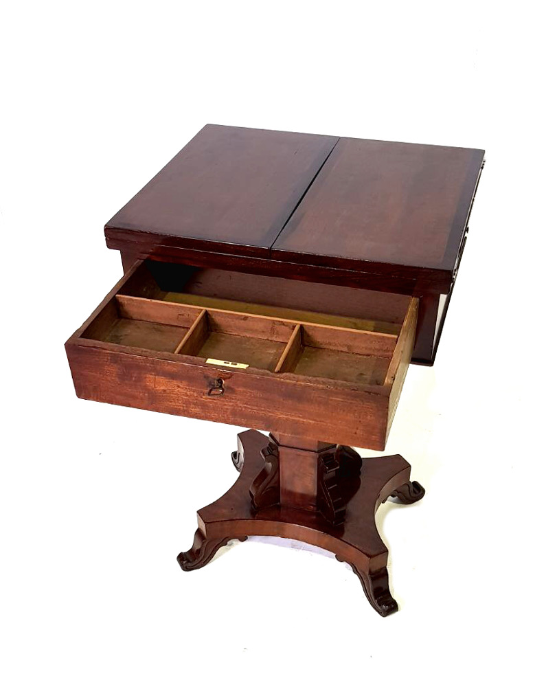 Unusual 19th Century Mahogany and Rosewood Table / Leather Top Desk