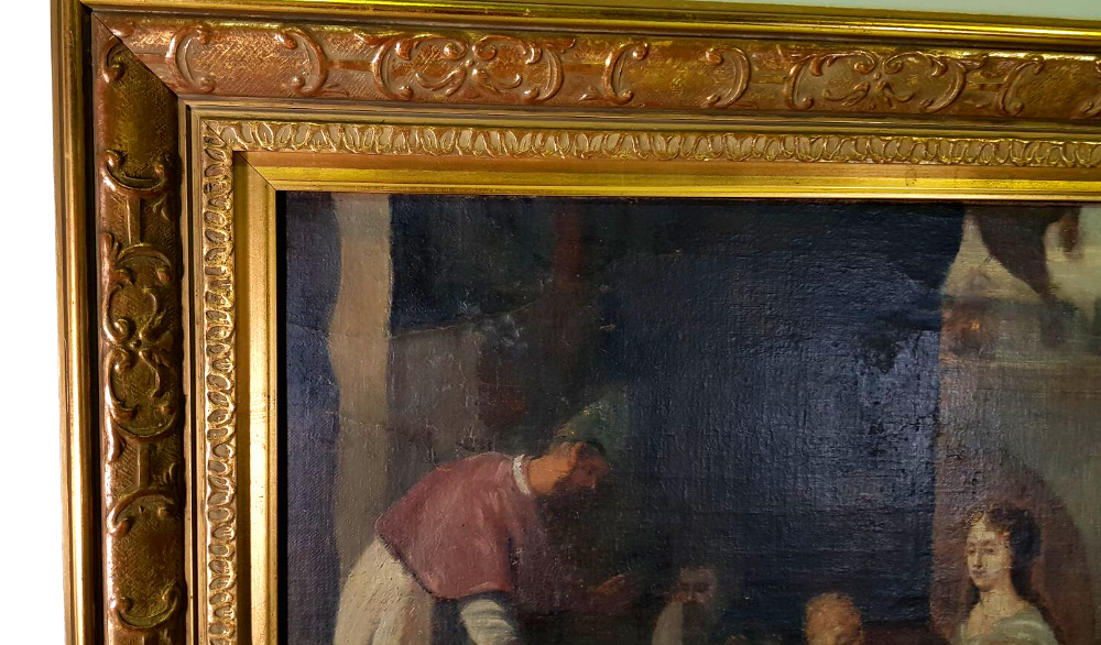 Good Quality 19th Century Oil Painting of Classical Interior with Figures