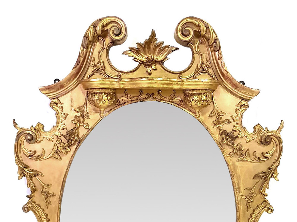 Unusual 19th Century Gilt Overmantle Mirror
