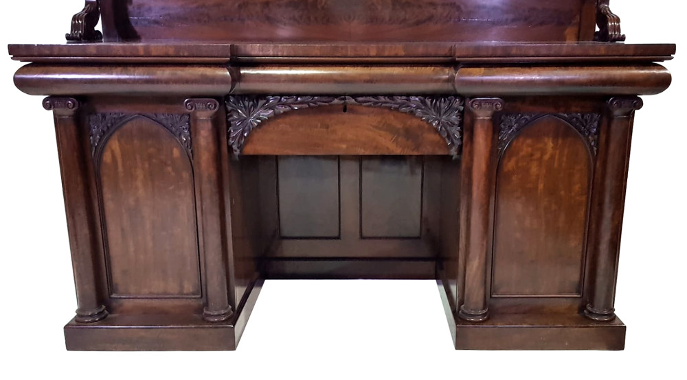 Very Good Quality 19th Century Figured Mahogany Pedestal Sideboard