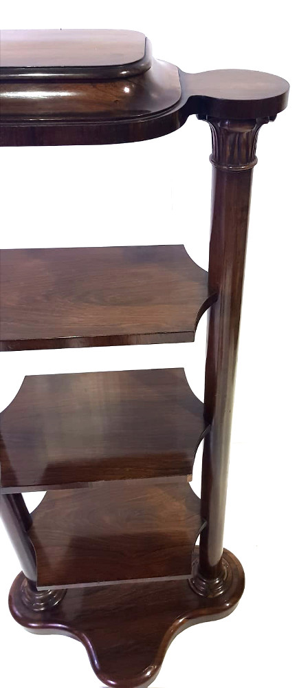 Very Unusual William IV Rosewood 4-Tier What-Not Book Stand