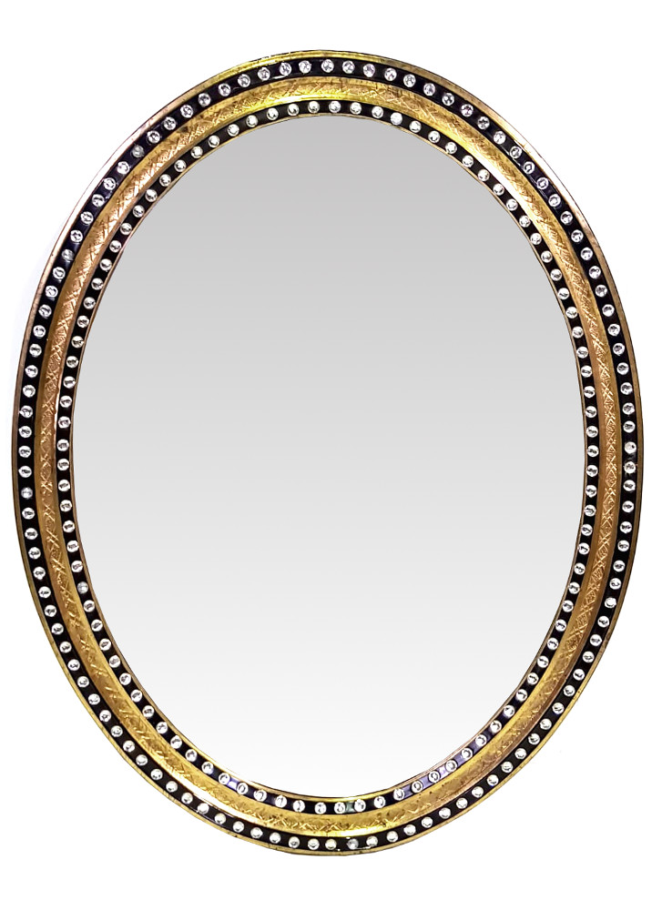 Lovely Rare 19th Century Oval Mirror, Gilded and Painted with Crystal Beads