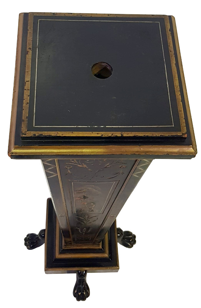19th Century Pair of Oriental Ebonised and Gilt Bust Stands