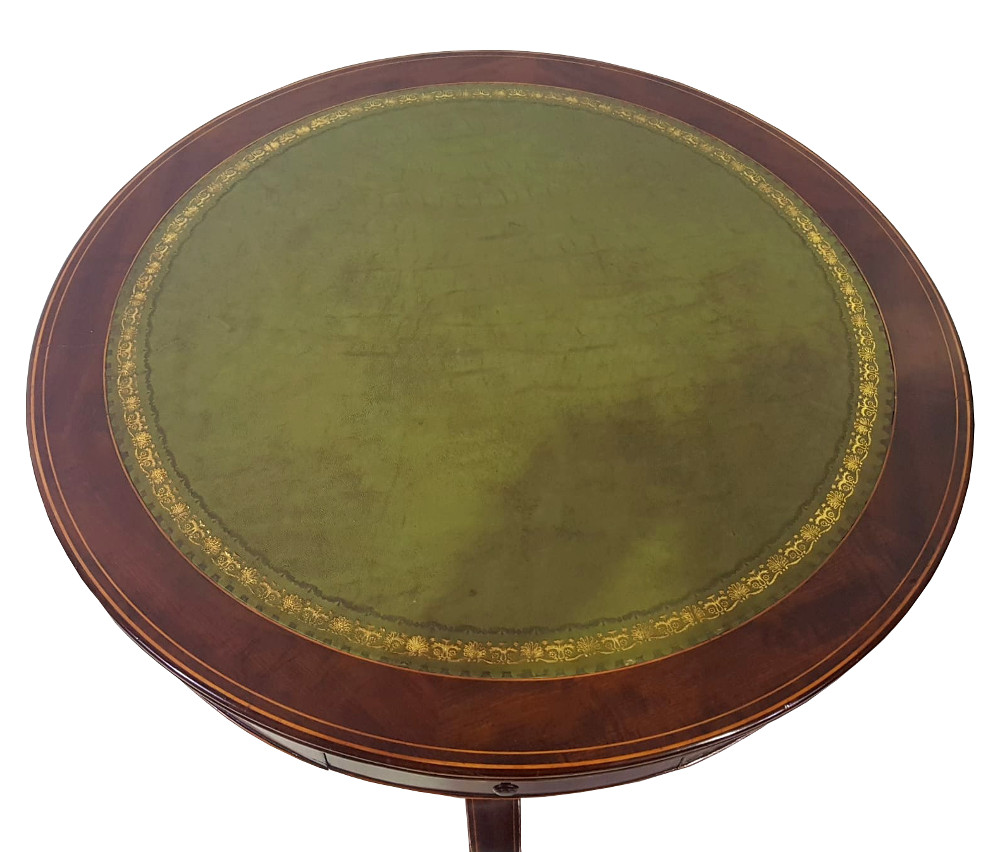 Edwardian Inlaid Mahogany Leather Top Table