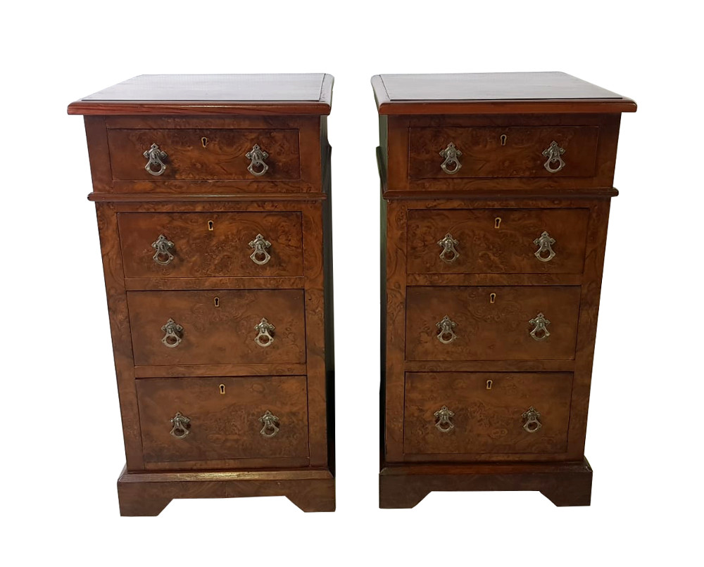 19th Century Pair of Walnut Bedside Cabinets