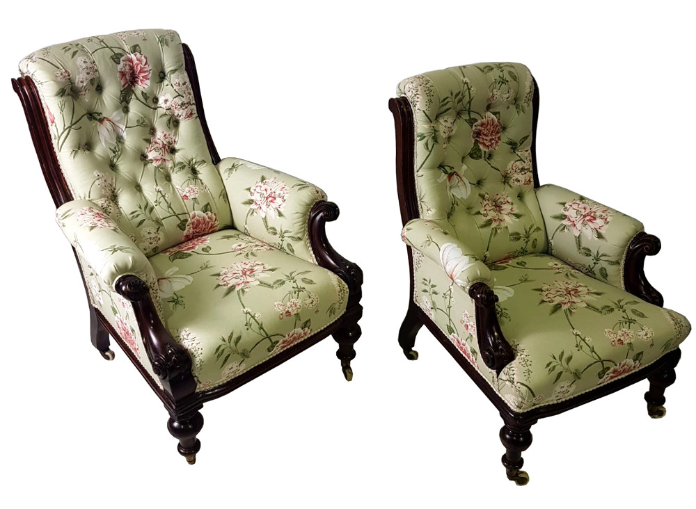 19th Century Pair of His and Her Armchairs