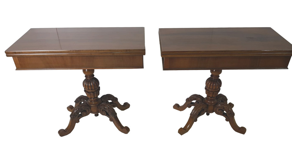 20th Century Pair of Walnut Turn Over Card Tables