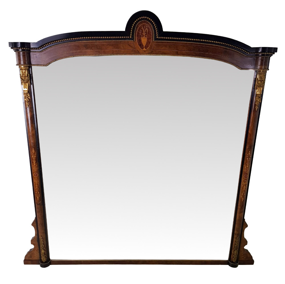 19th Century Inlaid Overmantle Mirror