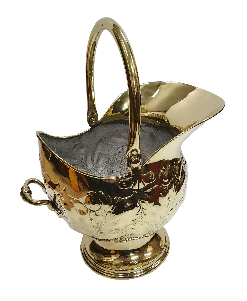 19th Century Embossed Brass Coal Scuttle