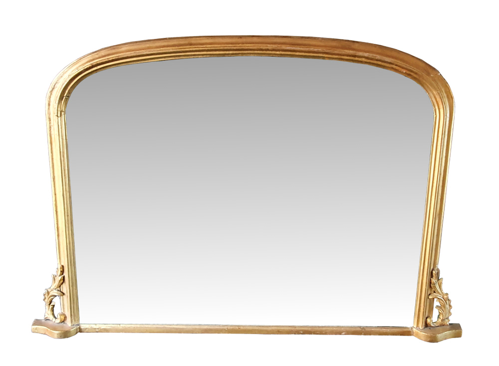 Neat Size 19th Century Arch Top Overmantle Mirror