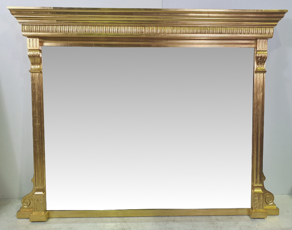 Lovely Simple Edwardian Gilt Overmantle Mirror