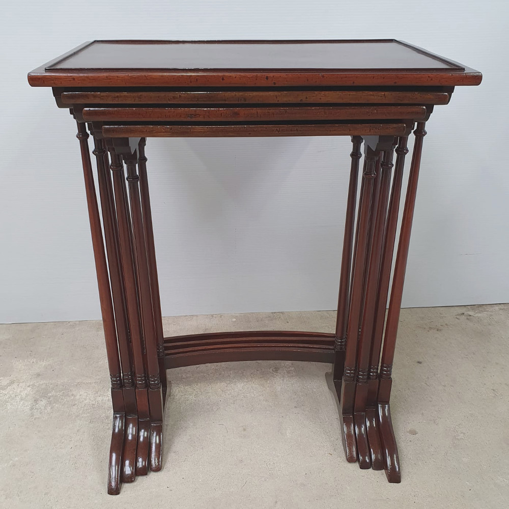 Inlaid Mahogany Nest Of Four Tables