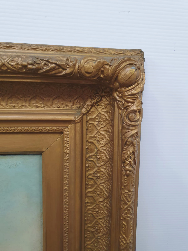 19th Century Oil On Canvas In Gilt Frame
