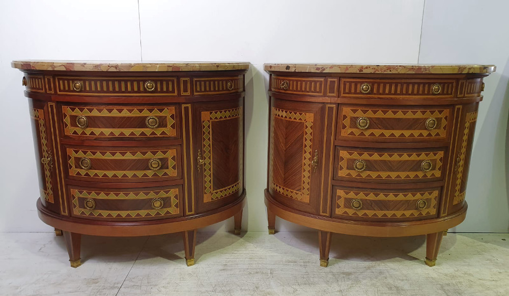 Pair Of Highly Inlaid Rosewood And Mahogany Chests