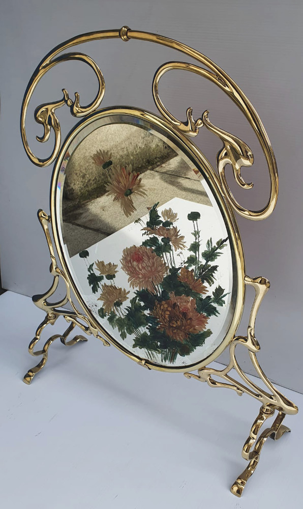 Art Nouveau Brass and Painted Mirror Firescreen