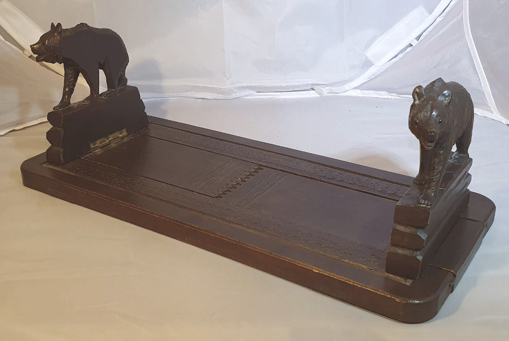 Early 1900s Carved Bear Table Book Slide