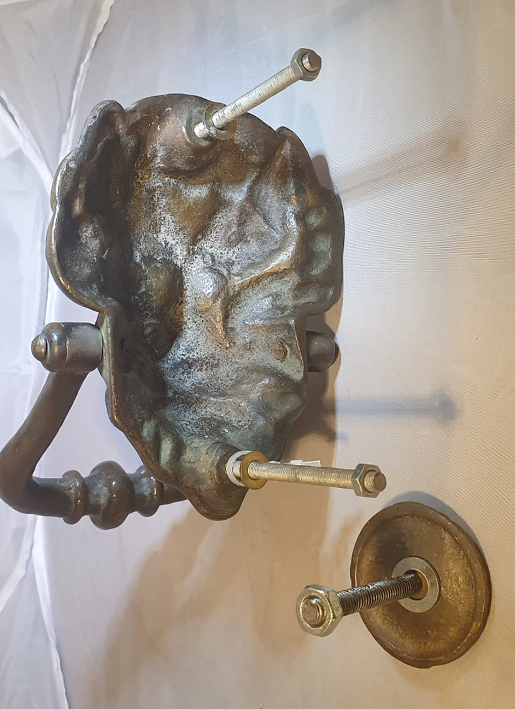 19th Century Brass Lion Head Door Knocker