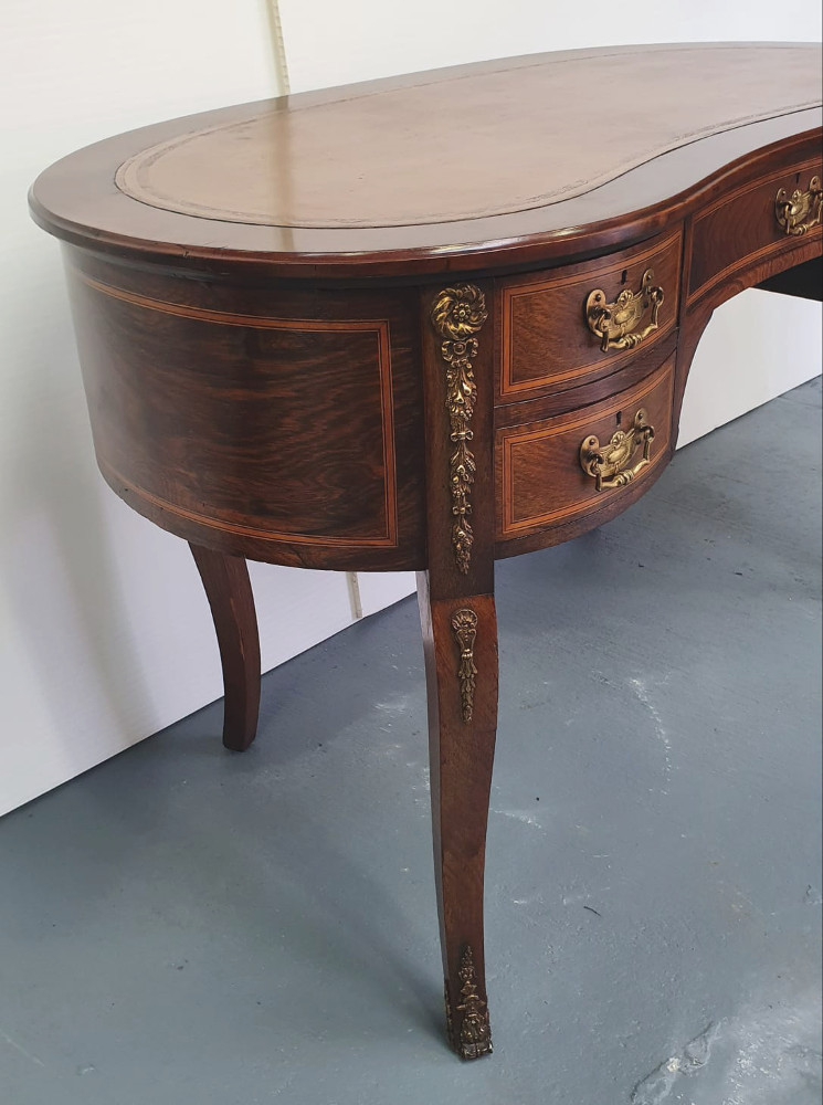 Edwardian Rosewood Kidney Shaped Desk or Dressing Table
