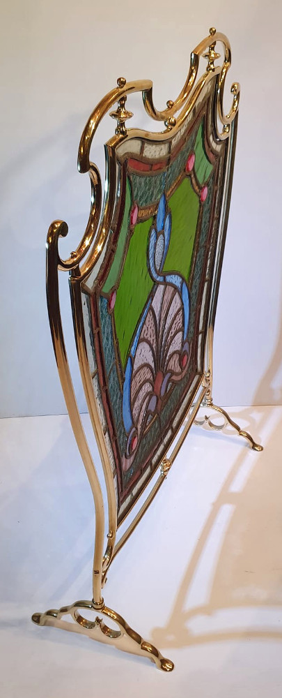19th Century Brass and Stained Glass Firescreen
