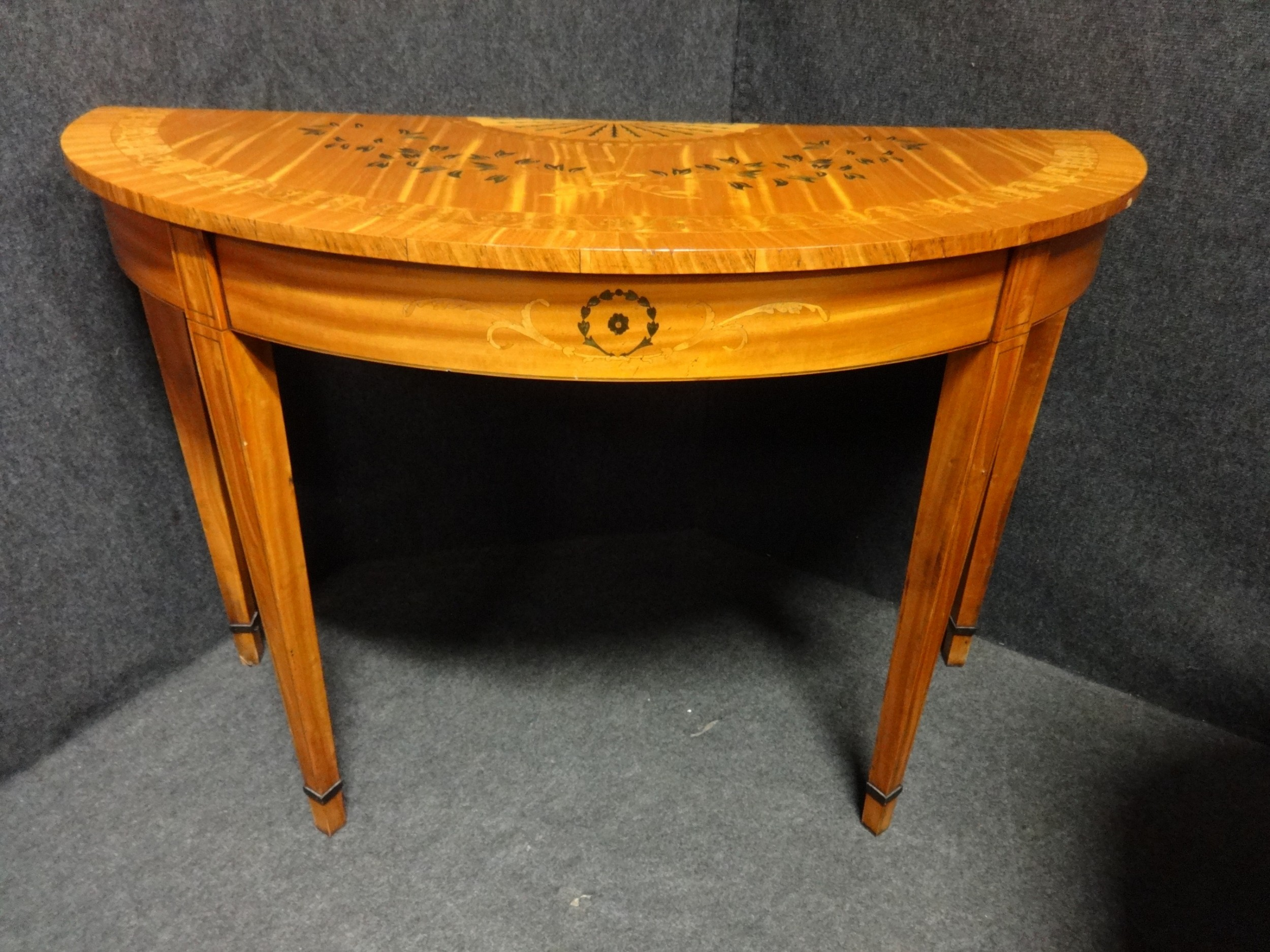 Pair of Satinwood Demi-lune Tables