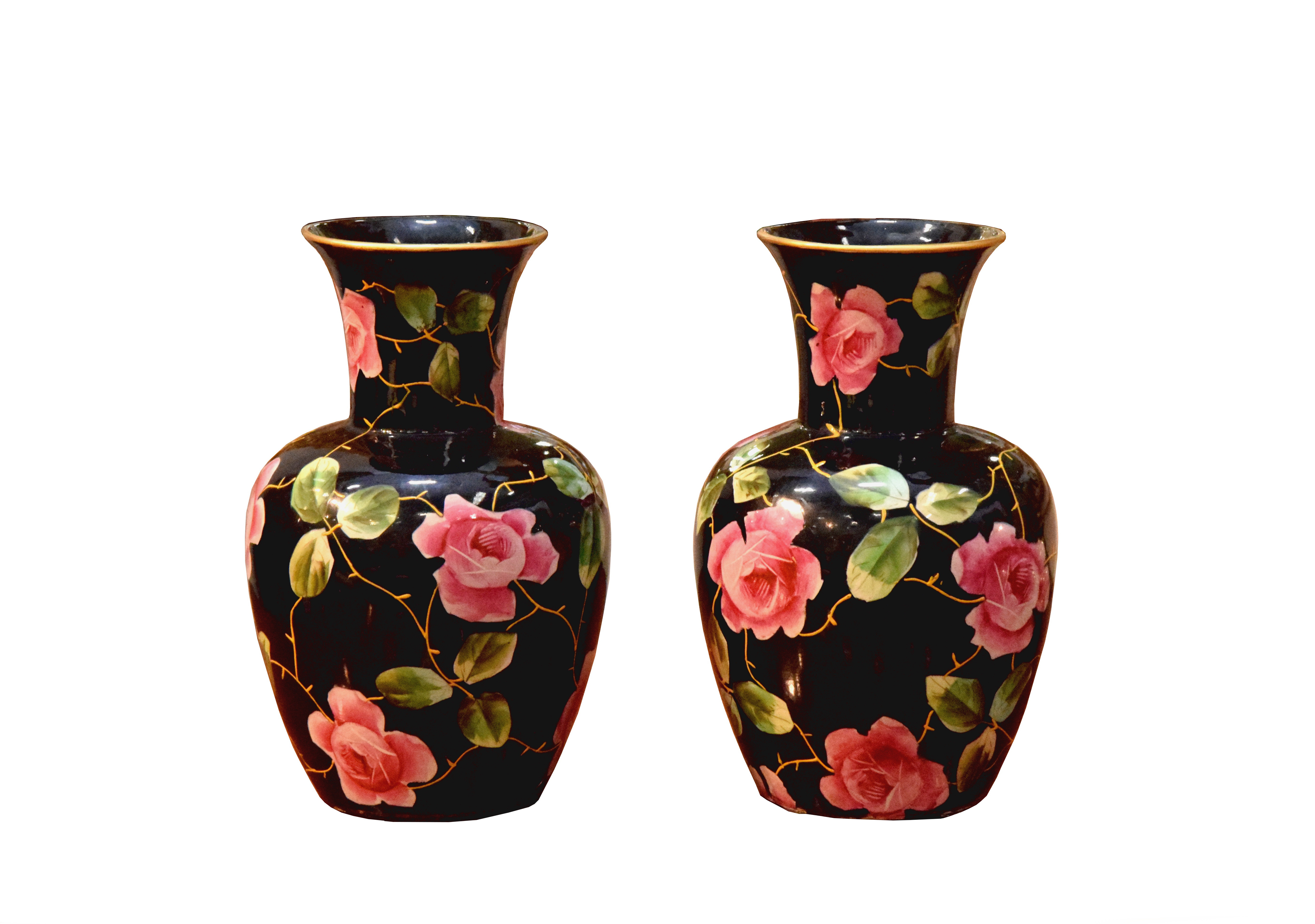 Lovely Early 1900's Hand Painted Rose Vases Made By T. Till (U.K)
