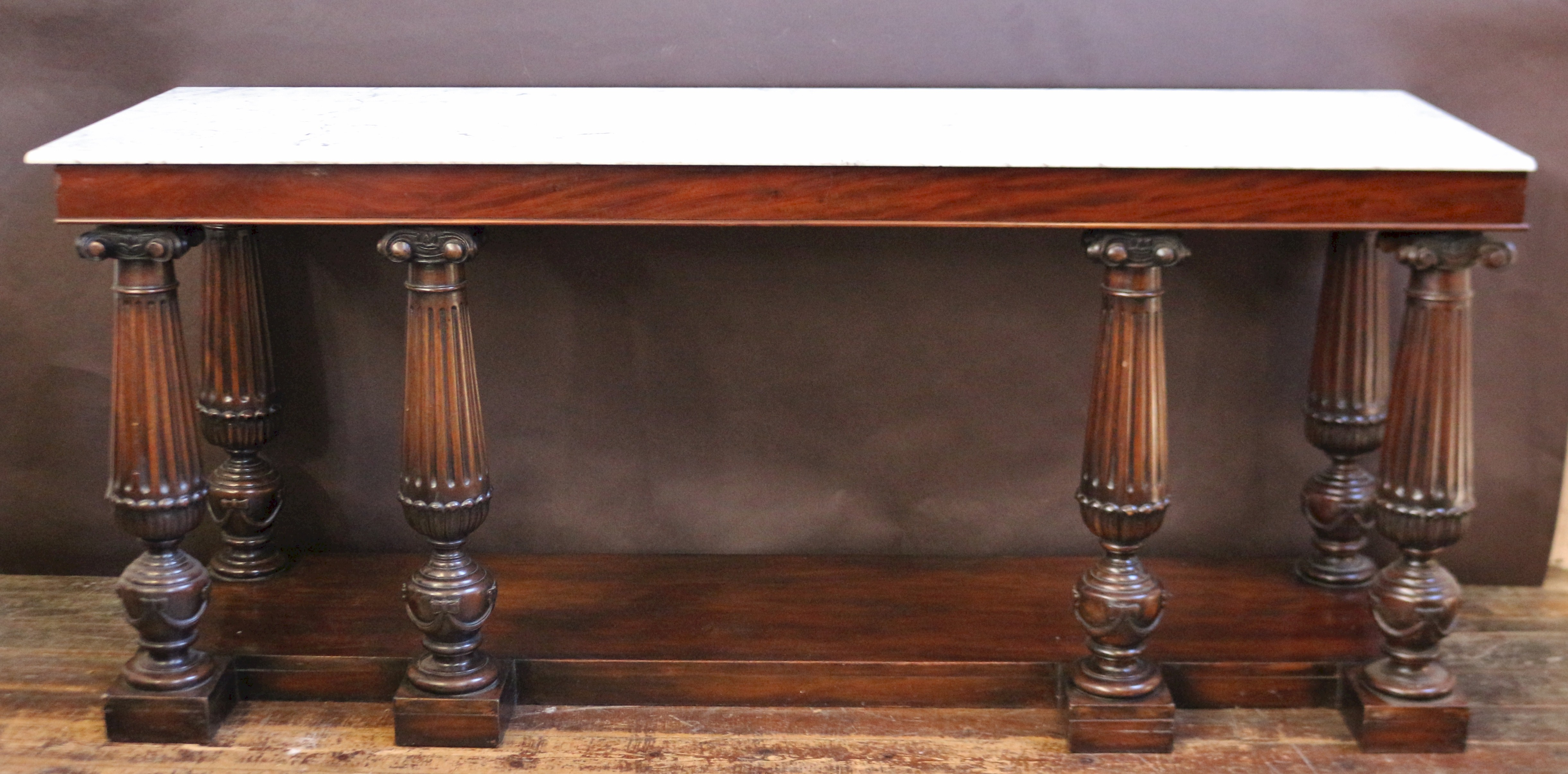 Marble Top Mahogany Console Table