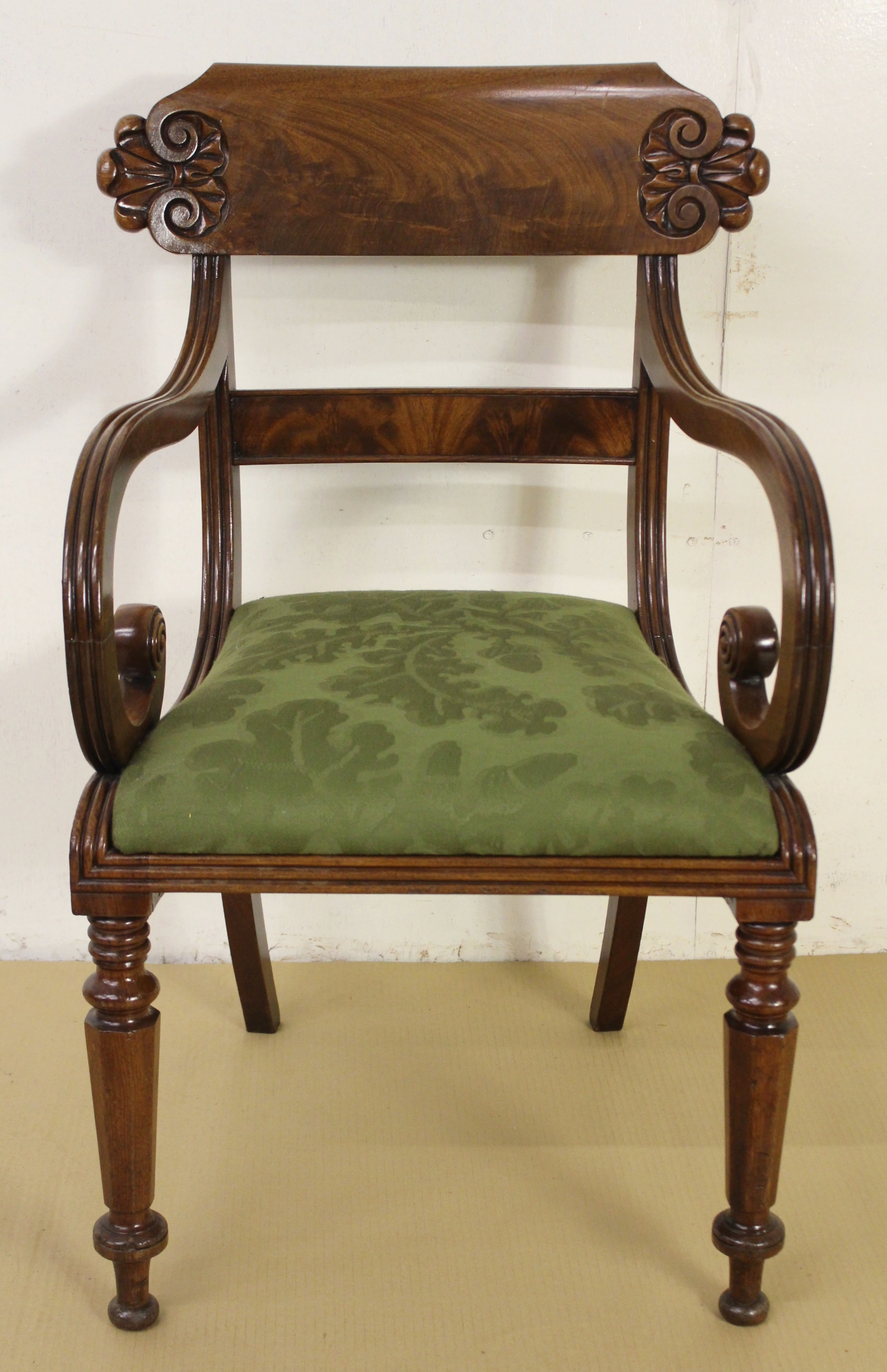 Very Good Quality Pair of Early 19th Century Scroll Armchairs