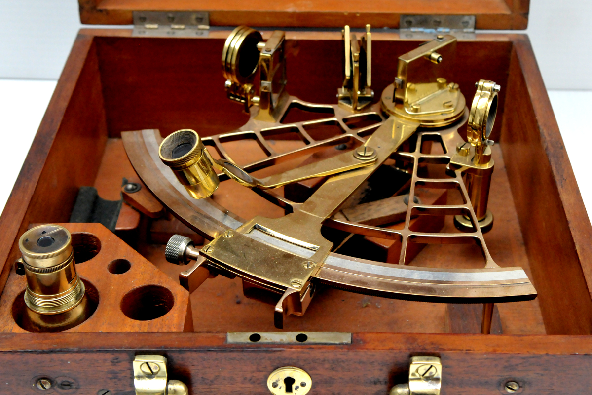 1930's Brass Sextant in Mahogany Case