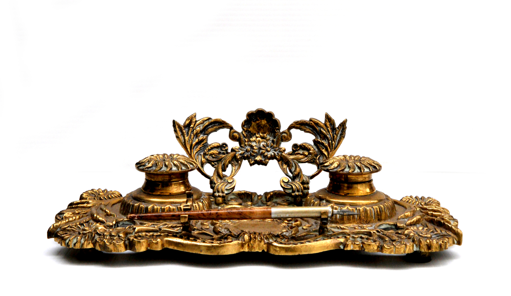 Victorian Brass Desk Set