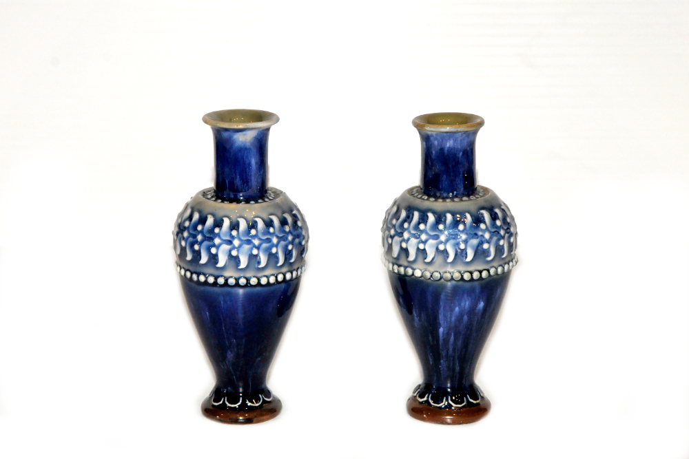 19th Century Victorian Pair Of Royal Doulton Vases Yeats Country