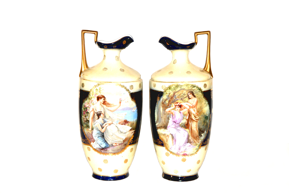 Lovely Pair Of 20th Century Vienna Urns