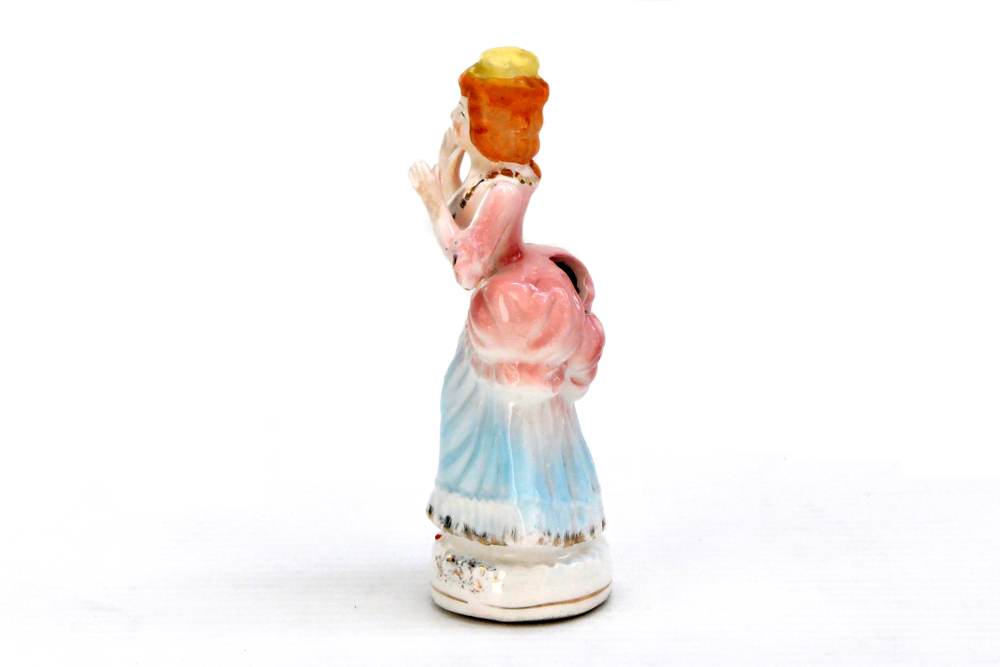 19th Century Victorian Rare Porcelain Figurine With Measuring Tape And Pin Cushion