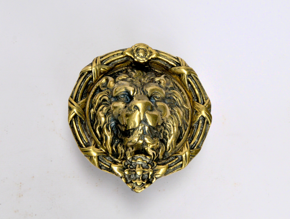Very Large Size Brass Lion Head Door Knocker - Yeats Country Antiques