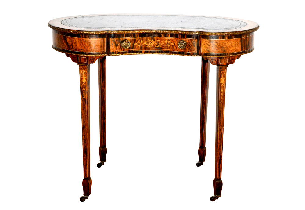 Edwardian Inlaid Rosewood Kidney Shaped Desk Labelled 'Edwards And Roberts'