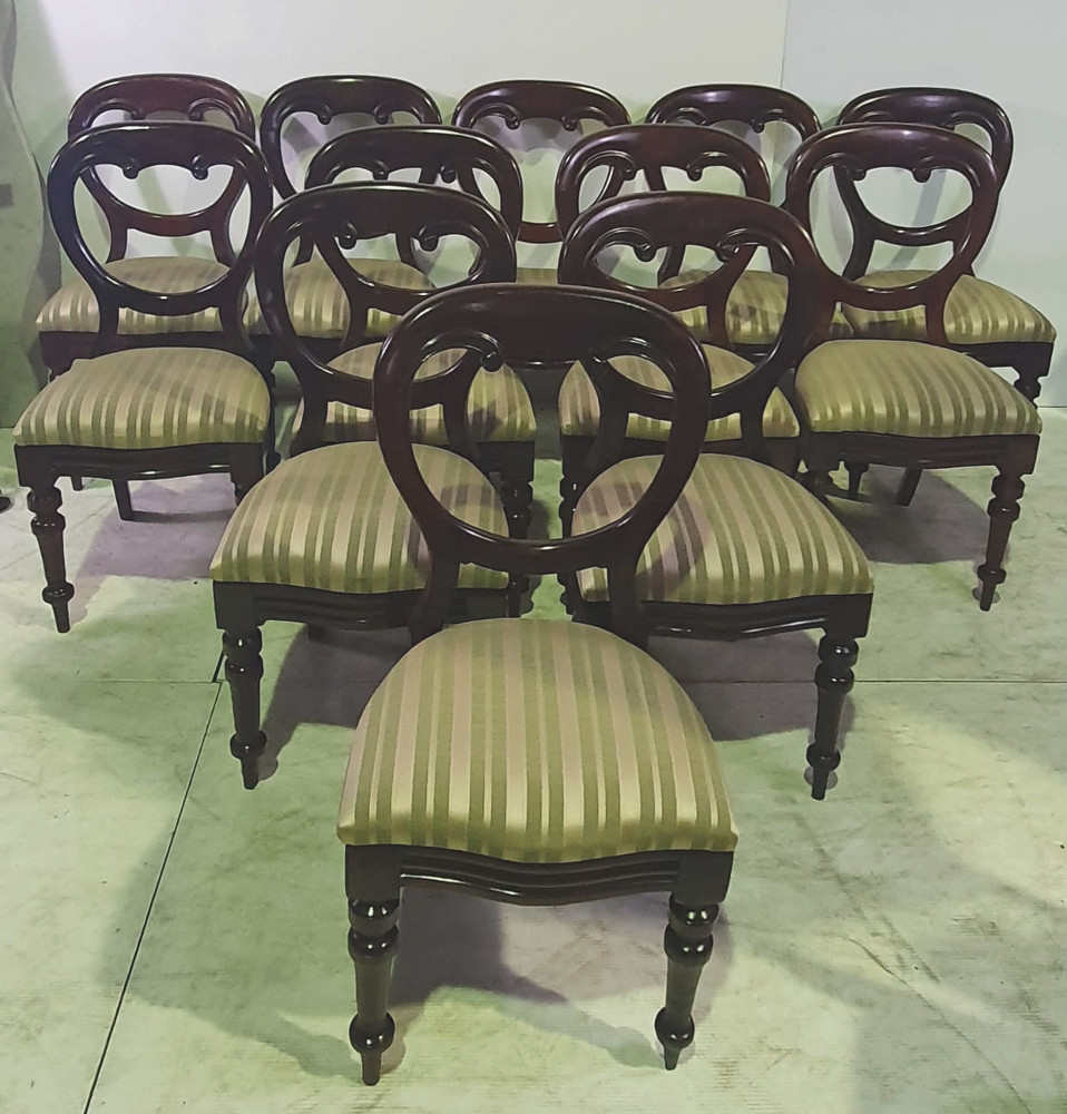 Set of Twelve 19th Century Mahogany Dining Chairs