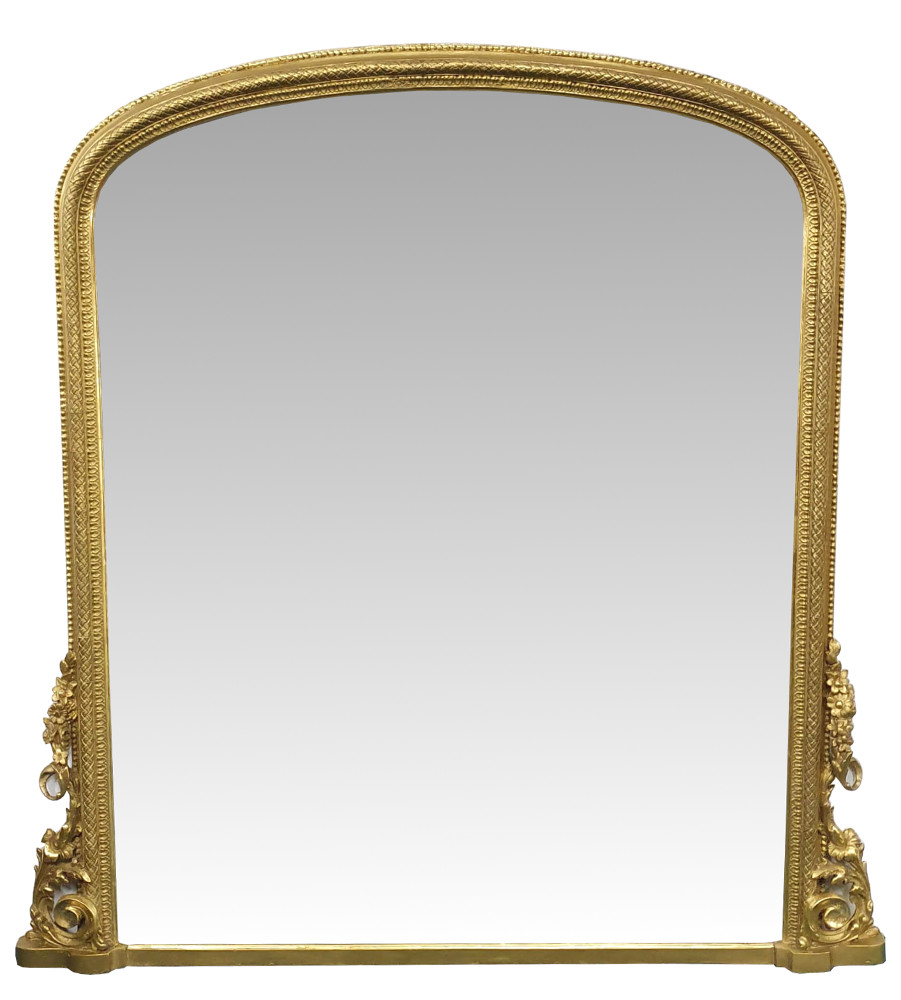 19th Century Giltwood Arch Top Overmantle Mirror